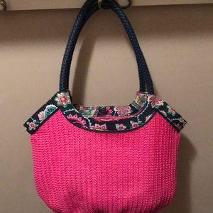 Vera Bradley Pink Straw Tote Bag